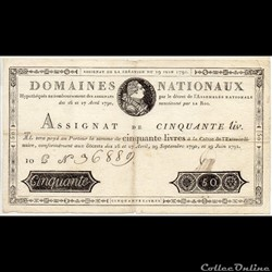 Assignat de 50 livres - 19 juin 1791