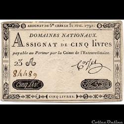 Assignat de 5 livres - 31 juillet 1792