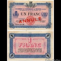1 franc C.C.M. - Série B16 annulé