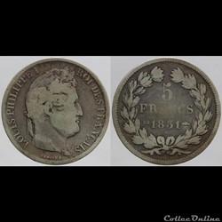 Louis Philippe I - 5 francs - 1831 BB