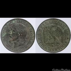 Second Empire - 5 centimes - 1864 K
