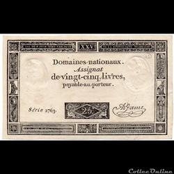 Assignat de 25 livres - 6 juin 1793