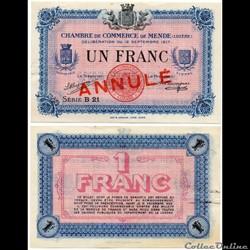 1 franc C.C.M. - Série B21 annulé
