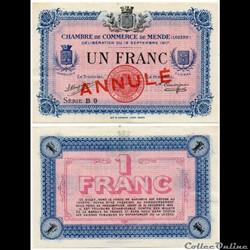 1 franc C.C.M. - Série B9 annulé