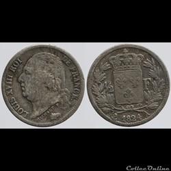 Louis XVIII - 1/2 franc - 1824 Paris