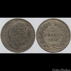 Louis Philippe I - 5 francs - 1835 Paris...