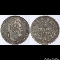 Louis Philippe I - 5 francs - 1835 B