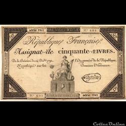 Assignat de 50 livres - 14 décembre 1792