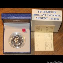 2001 - 5 franc argent B.U.