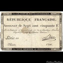 Assignat de 750 francs - 18 nivôse AN II...