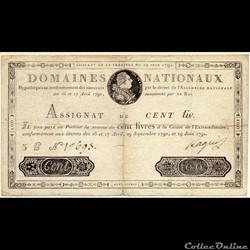 Assignat de 100 livres - 19 juin 1791