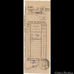 1959 - Cachets type A7 sur accusé de rec...