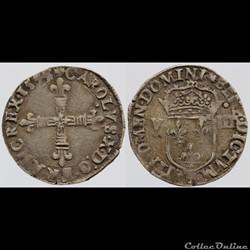 Charles X - Huitième d'écu - 1593, Nante...