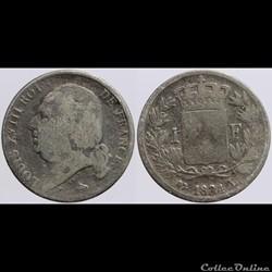Louis XVIII - 1 franc - 1824 Bayonne