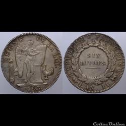 Convention - Ecu de 6 livres - 1793, Par...