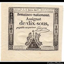 Assignat de 10 sous - 4 janvier 1792