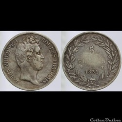 Louis Philippe I - 5 francs - 1831 W