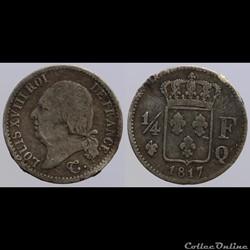 Louis XVIII - 1/4 de franc - 1817 Q