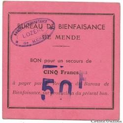 Bureau de Bienfaisance de Mende - 50 F