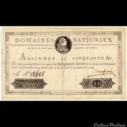 Assignat de 50 livres - 29 septembre 179...