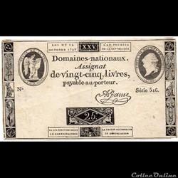 Assignat de 25 livres - 24 octobre 1792