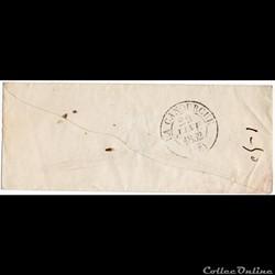 1852 - Cachet type 13, sur arrivée de Me...