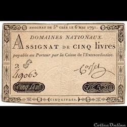 Assignat de 5 livres - 6 mai 1791