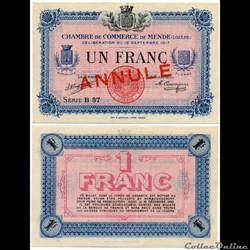 1 franc C.C.M. - Série B37 annulé
