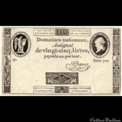 Assignat - 25 livres - 16 décembre 1791