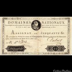 Assignat de 50 livres - 31 aout 1792