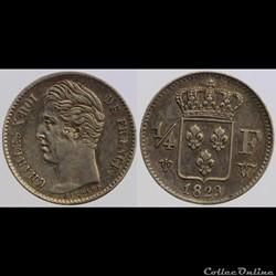 Charles X - 1/4 de franc, 1829 Lille