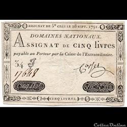 Assignat - 5 livres - 28 septembre 1791