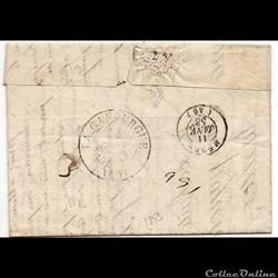 1853 - Cachet type 13, sur arrivée