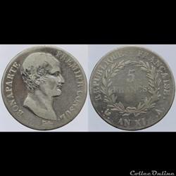 Consulat - 5 francs - AN XI Paris
