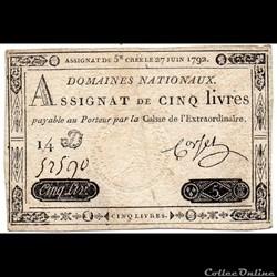 Assignat de 5 livres - 27 juin 1792