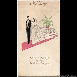 Menu de mariage, 1949 aux Salces