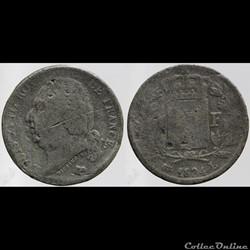 Louis XVIII - 1 franc - 1824 Bayonne FAU...