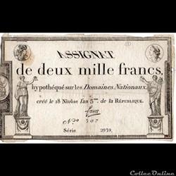 Assignat de 2000 francs - 18 nivôse AN I...