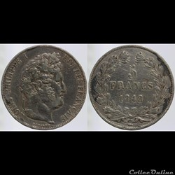 Louis Philippe I - 5 francs - 1848 Stras...