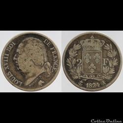 Louis XVIII - 2 francs - 1824 Paris