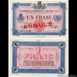 1 franc C.C.M. - Série B27 annulé