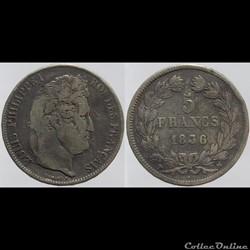 Louis Philippe I - 5 francs - 1836 Marse...