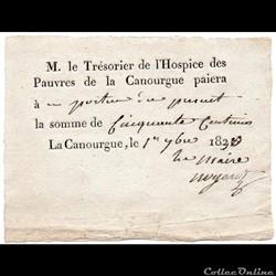 Bon au porteur de 50 c - La Canourgue (L...