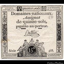Assignat de 15 sols - 4 janvier 1792
