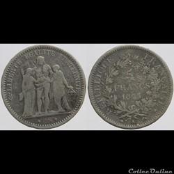 Troisième République - Dupré - 5 francs - 1873 A fausse