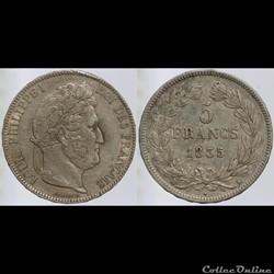 Louis Philippe I - 5 francs - 1835 Borde...