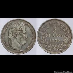 Louis Philippe I - 5 francs - 1839 K