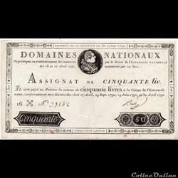 Assignat de 50 livres - 30 avril 1792