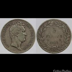 Louis Philippe I - 5 francs - 1831 A
