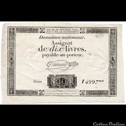 Assignat de 10 livres - 24 octobre 1792